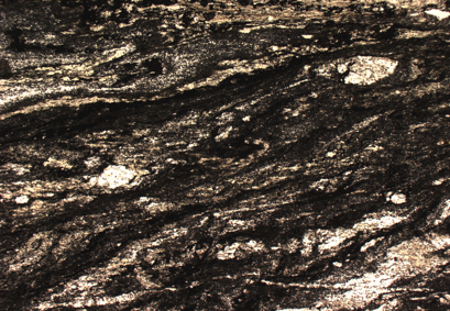 Optical microscope picture of a fine grained foliated cataclastic structure (field of view 6 mm) from the base of the Dent Blanche nappe, in southern Switzerland (Moiry region, depth 40 km). Note the heterogeneous clast size distribution and the presence of quartz-rich mylonitic fragments from the initial orthogneiss.