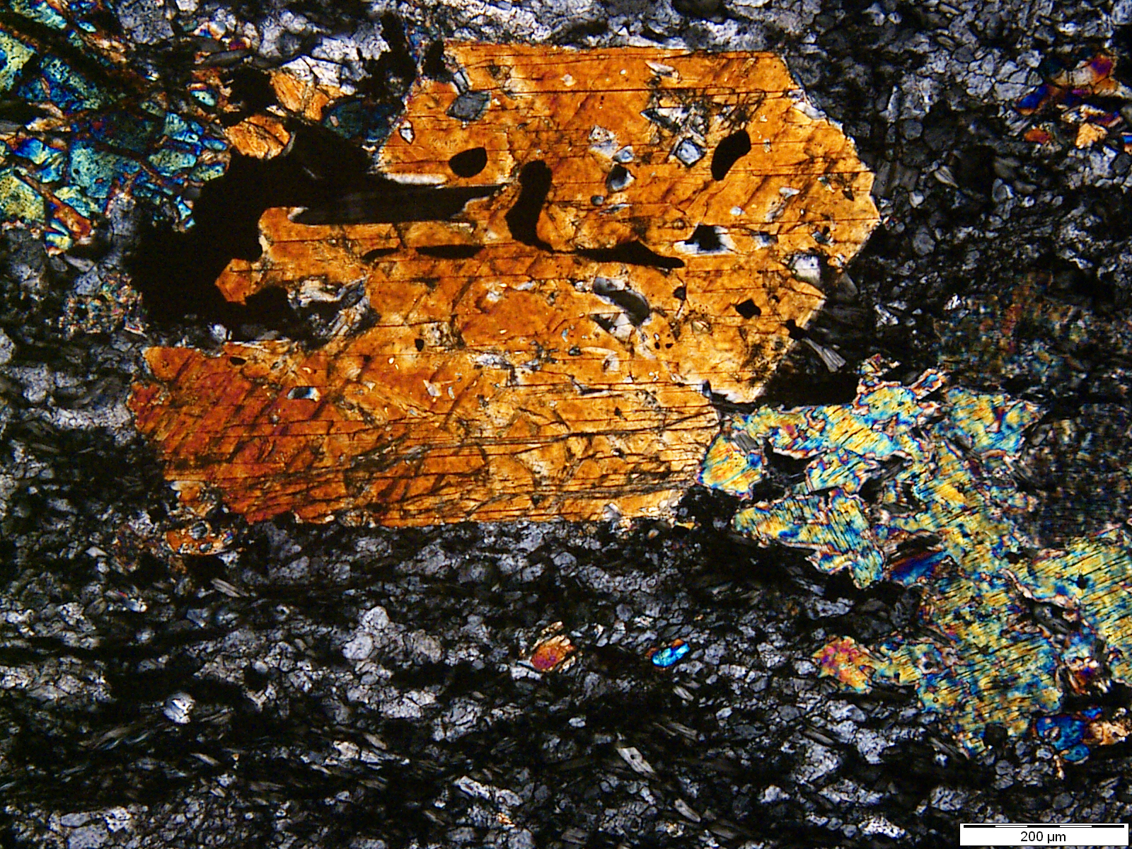 Idiomorphic tremolite crystal (orange) in chlorite-harzburgite