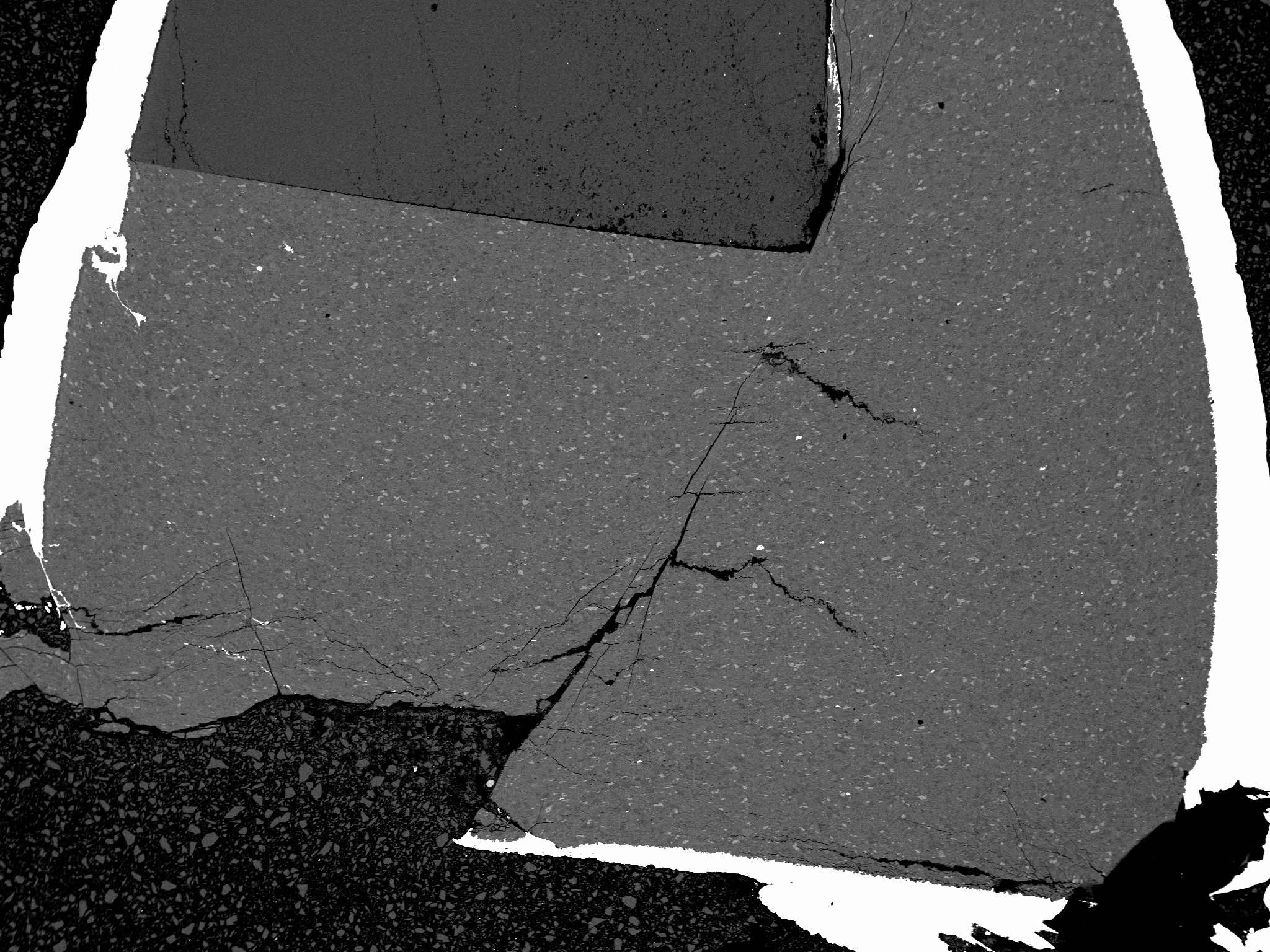 BSE image showing a high-pressure fault in a glaucophane sample (GL02) after a Griggs experiment.
